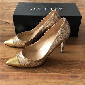 J. CREW Gold Glitter Heels
